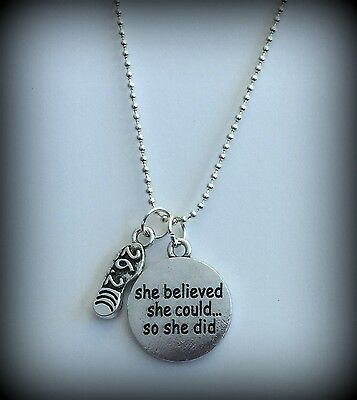 Silver Tone Necklace She Believed She Could 26.2 Marathon Running Shoe RTS