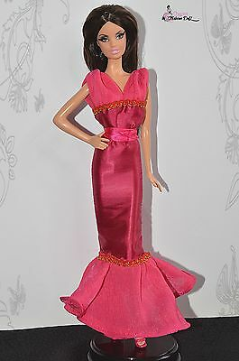 Pink night dress-gown for OOAK Barbie Model Muse or Poppy Parker 12""
