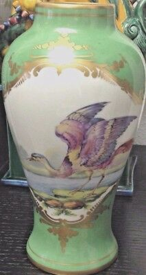 Antique 19th Century French Samson/Sevres Porcelain Vase w Hand-Painted Cranes