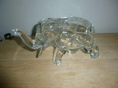 """Vintage Indiana Glass Elephant Candy Trinket Dish with Cover Clear Crystal 7"""""""