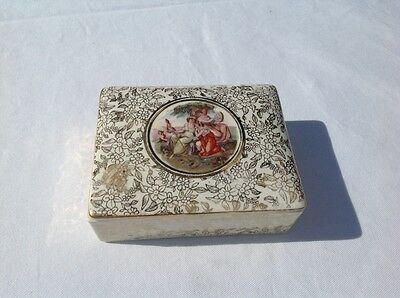 Antique 1940's Staffordshire Empire Of England Ware Gilt Porcelain Trinket Box