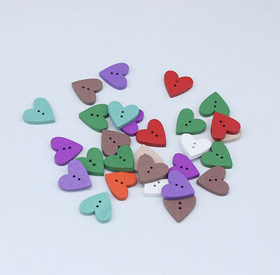 Wooden Buttons 2 Holes Heart Shape Mixed Colors 17.7mm x18.8mm 50PCs
