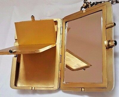 Antique Silver Gold Gilt Compact Card Vanity Case Blue Sapphire Cabochon Gems