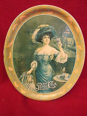 1970's VINTAGE 1909 PEPSI COLA GIBSON GIRL OVAL METAL TIP SERVING TRAY