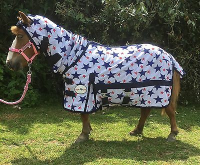 "MINI/SHETLAND PONY FLY RUG SOFT MESH STAR DESIGN 3'3"" TO 4'3"" Top Horse uk"