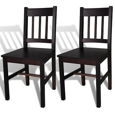 2 pcs Brown Wood Dining Chair