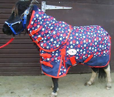 """Mini/ Shetland/ Pony 1200D No Fill Blue Star Turnout Rug With Neck 3'0"""" To 4'3"""""""