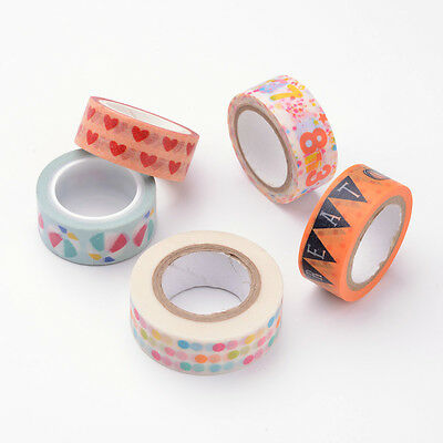 5Rolls Paper Single-Sided Adhesive Tapes with Pattern DIY Decorative Mixed Color