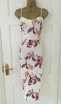 £35! Brand New Floral Midi Cami Summer Party Wedding Bodycon Day Dress Size 8