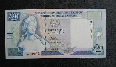 CENTRAL BANK OF CYPRUS, BANKNOTE 20 POUNDS 1-10-1997 P63a_ UNCIRCULATED