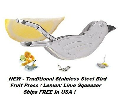 NEW Traditional Stainless Steel Bird Fruit Press / Lemon/ Lime Squeezer Ships FR