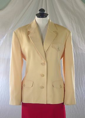 PERRY ELLIS vintage 80s yellow wool gaberdine JACKET strong classic style 8