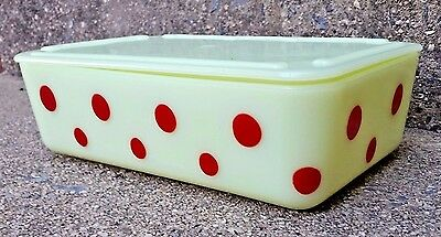 "Vintage Mckee Custard Glass With Red Dots 7-3/4"" X 5"" Fridge Dish W/ Lid Exc!"