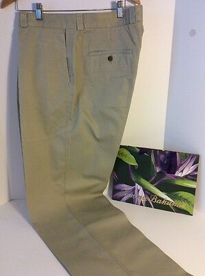 Tommy Bahama Casual Men's Size 40 X 34 Khaki Chinos Flat Front Cotton Pants