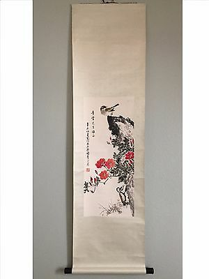 Vintage Chinese Watercolor Painting Scroll 岳石塵