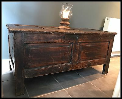 Antique stained pine 18th century panelled Coffer/Chest/Trunk