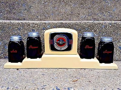 Rare Mckee Black With Red Letters Roman Arch Shakers With Enameled Timer Holder