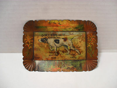Advertising Antique 1904 Litho Hunting Dog Metal Ash Tray Unusual Detailed Litho