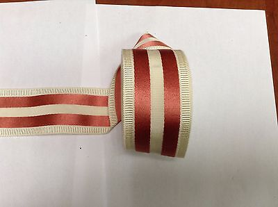 """10 Yards 2"""" VINTAGE ANTIQUE Pink and White Stripe Grosgrain Ribbon FRENCH"""