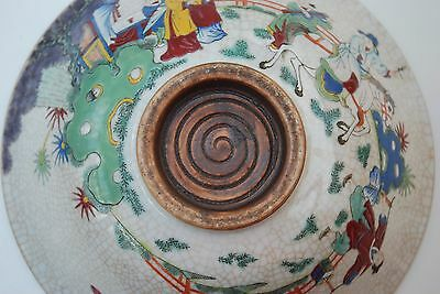 Chinese crackle glaze bowl with enamel hand-painted scenes with figures