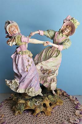 Antique German Porcelain Figurine Two Women Dancing Bisque Figure Germany