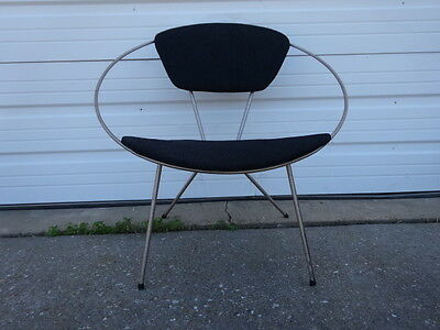 Vintage Retro Mid-Century Modern Eames Era 1950s Iron Framed Circle Hoop Chair !
