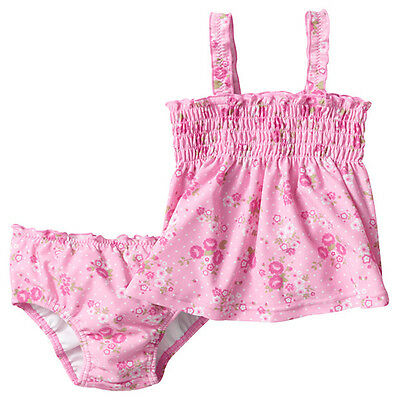 NWT Target Girls Pink Floral Tankini Swim Nappy 2 Piece Swimsuit Set Size 0