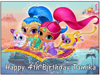 """Shimmer and Shine Personalised Cake Topper Edible Wafer Paper A4 7.5"""" By 10"""""""