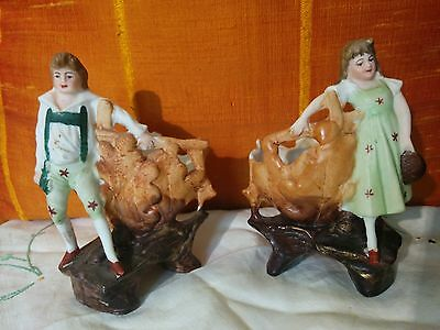 Charming Bisque Boy and Girl Posing with Ornamental Leaf Bowls