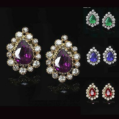 Ladies Sparkly Crystal Pear Drop Stud Diamante Indian Bollywood Fashion Earrings