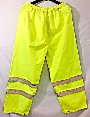 Liberty Glove Hi Vis Men Large Safety Reflective Waterproof Rain Pant Lime Green