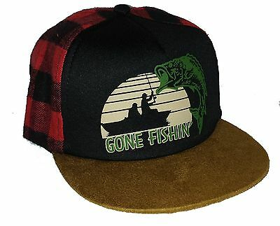1b0f1560ca6 Kid s Gone Fishing Plaid Buffalo Check Snapback Mesh Trucker Hat Cap Toddler