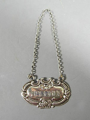 Sterling Silver Bottle or Decanter Tag Label for Bourbon / FREE Shipping