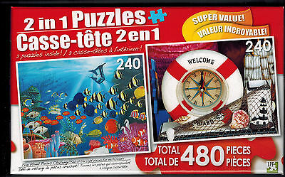 480 pcs 2-in-1 Jigsaw Puzzles Mixed Piece Challenge Train /& Victorian Home  NIB!