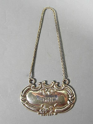 Sterling Silver Bottle or Decanter Tag Label for GIN / FREE Shipping