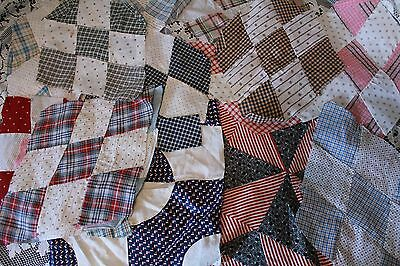 Lot of Antique Quilt Blocks with Very Old Fabric