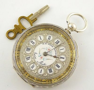 Antique Fancy 1800s Peck London Swiss Hallmarked Silver Applied Gold Dial LAYBY