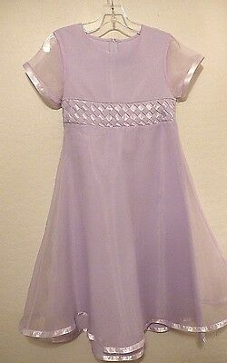 New BONNIE JEAN Lavender Linen & Tulle Party Dress 16 Wedding Flower Girl