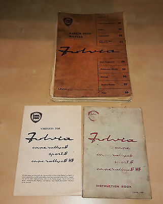 LANCIA FULVIA COUPE RALLYE SPORT 1.3 INSTRUCTION VARIANTS BOOK and SHOP MANUAL
