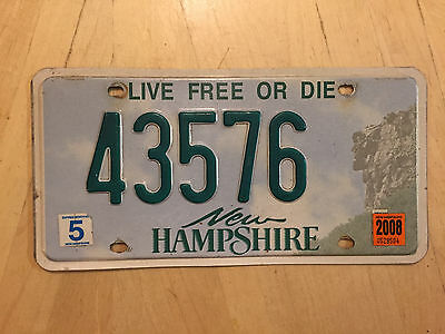 "2008 New Hampshire  Auto Passenger License Plate  "" 43576 "" Nh Live Free Or Die"