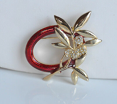 VINTAGE CHRISTMAS BROOCH PIN red enamel GOLD BRANCH ICE with clear RHINESTONE