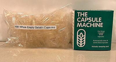 "CAPSULE FILLING MACHINE Size ""00"" + 100 Empty Gelatin Capsules - Complete Kit"