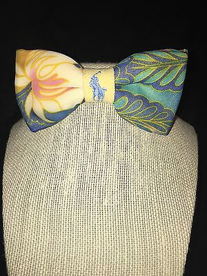 Handcrafted Polo Ralph Lauren Lady's pre-tied Bow Tie; Blue and Yellow