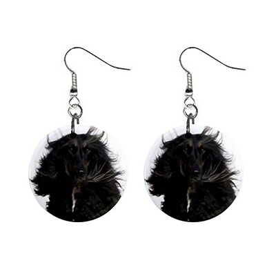 Black Cute AFGHAN HOUND Face Dog Puppy Lovers Gift Dangle Metal EARRINGS Jewelry
