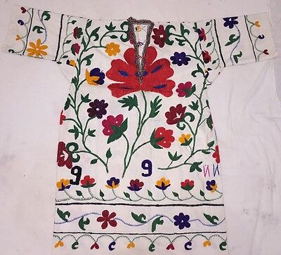 Antique Uzbek Vintage Handmade Embroidery Silk Suzani Dress