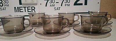 vintage retro ARCOROC France 12 piece set toughened glass COFFEE CUPS & SAUCERS