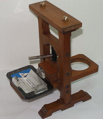 """Vintage Wooden Screw Printing Press Business Card Holder! 8 1/2"""" Tall! Unique!"""