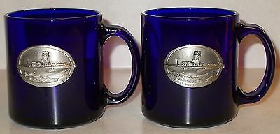 2 Cobalt Blue Glass Coffee Cups with Pewter placard U.S.S. Ronald Reagan Carrier