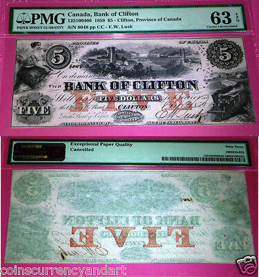 1859 $5 Bank Of Clifton .uncirculated  Pmg 63 Exceptional Paper Quality