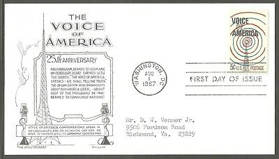 Us Fdc 1967 Voice Of America 5C Stamp The Aristocrats D Lowry First Day Of Issue